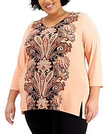 Plus Size Printed Crepe Top, Created for Macy's