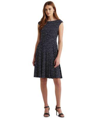 로렌 랄프로렌 Lauren Ralph Lauren Petite Floral Fit-and-Flare Dress,Navy/Cream
