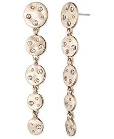 Gold-Tone Crystal Hammered Disc Linear Drop Earrings