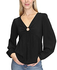 Juniors' Ring-Detail Babydoll Top