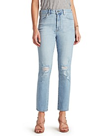 Stiletto Distressed Straight-Leg Jeans