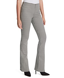 Houndstooth Flare-Leg Pants