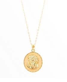 """Polished Christ Pendant on 18""""Cable Chain in 14K Yellow Gold"""