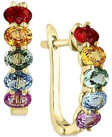EFFY® Multicolor Sapphire Hoop Earrings (2-1/8 ct. t.w.) in 14k Gold