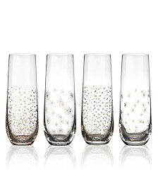 Party Stemless Toasting Flutes Set of 4, 9.5 oz