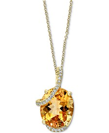 "EFFY® Citrine (4-5/8 ct. t.w.) & Diamond (1/10 ct. t.w.) 18"" Pendant Necklace in 14k Gold"