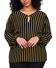 Plus Size Chain-Print Keyhole Top