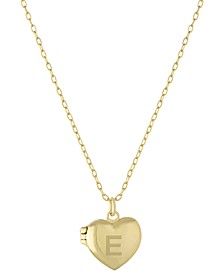 "Initial Heart Locket Pendant Necklace in 18k Gold-Plated Sterling Silver, 16"" + 2"" extender, Created for Macy's"