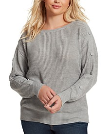 Trendy Plus-Size Adley Button-Trimmed Sweater