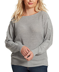 Jessica Simpson Juniors' Adley Plus-Size Button-Trimmed Sweater