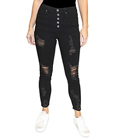 Juniors' Distressed High-Rise Button-Fly Jeans