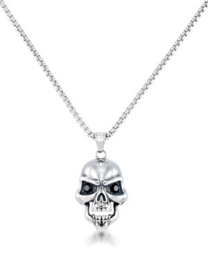 "Men's Black Cubic Zirconia Skull 24"" Pendant Necklace in Stainless Steel"