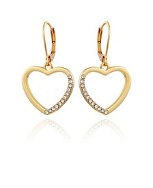 Women's Pave Heart Drop Earring