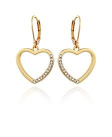 Women's Pave Heart Drop Earring