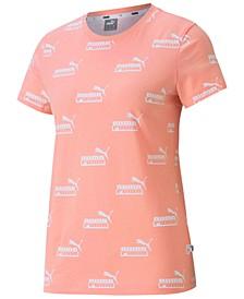 Women's Plus Size Cotton Amplified Allover Logo-Print T-Shirt