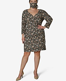 Juniors' Plus Size Wrap Dress & Face Mask