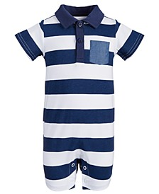 Baby Boys Striped Polo Cotton Sunsuit, Created for Macy's