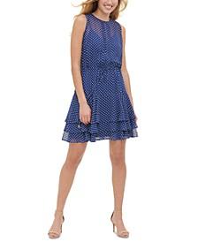 Bayview Dot-Print Chiffon Dress