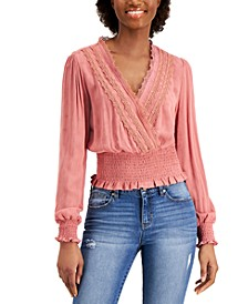 Juniors' Smocked Lace-Trim Top