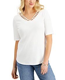 Elbow Sleeve Cutout V-Neck Top, Created for Macy's