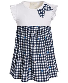 Toddler Girls Gingham Flower Cotton Dress, Created for Macy's