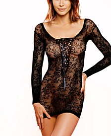 Women's Trina One Piece Lace Chemise with Ribbon Front Lace Up