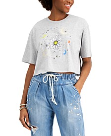 Juniors' Solar Daisy Graphic-Print Cropped T-Shirt