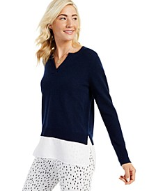 Cashmere Long-Sleeve Split-Neck Twofer, Created for Macy's