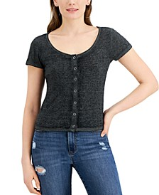 Juniors' Snap-Front Ribbed Top