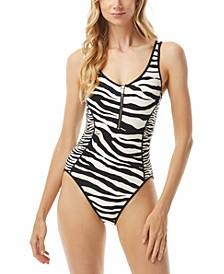 Animal-Print Zip One-Piece Swimsuit