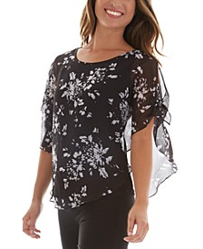 Juniors' Floral Lattice Back Popover Shoulder Blouse