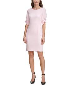 Imitation-Pearl Cufflink Sheath Dress