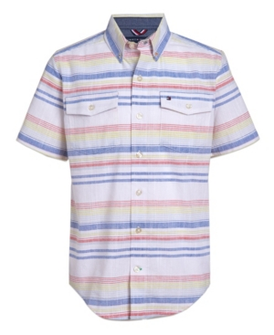 Tommy Hilfiger BIG BOYS RETRO SLUB STRIPE SHORT SLEEVE WOVEN SHIRT