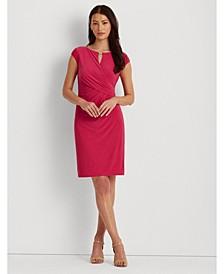 Petite Faux-Wrap Jersey Dress