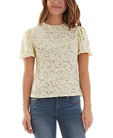 Juniors' Floral Puff Short Sleeve Top