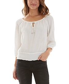 Juniors' 3/4-Sleeve Peasant Top