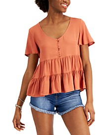 Juniors' Babydoll Tiered Top