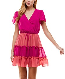 Juniors' Colorblocked Tiered Dress