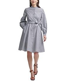 Cotton Striped Belted Shirtdress