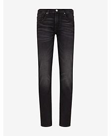 Men's Washed Gray 5 Pocket Denim Jeans