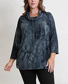 Women's Plus Size Cozy Tie Dye Top