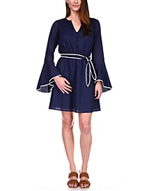Cotton Belted Bell-Sleeve Dress
