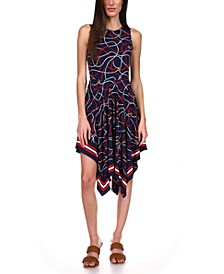Printed Handkerchief-Hem Dress, Regular & Petite Sizes