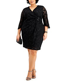Plus Size Sparkle Lace Surplice Dress