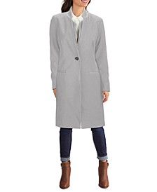 Ponté-Knit Inverted-Collar Trench Coat