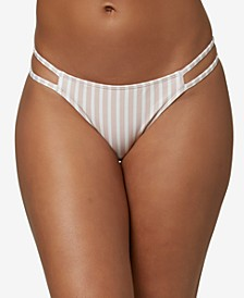 Juniors' Cardiff Lilia Striped Cheeky Bikini Bottoms
