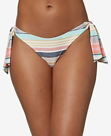 Juniors' Maho Cruz Striped Cheeky Bikini Bottoms
