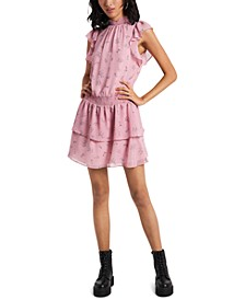 Smocked-Neck Calico-Printed Mini Dress