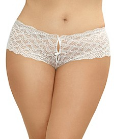 Women's Plus Size Lace Panty with Heart Cutout Back