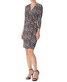 Faux-Wrap Leopard-Print Dress